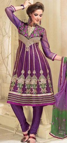 $110.36 Purple Full Sleeve Net Knee Length Anarkali Salwar Kameez 18339