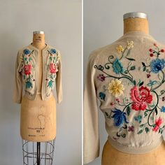 Vintage 1960s Embroidered Cardigan / 60s Floral Embellished | Etsy Cropped Cardigan, Vintage Sweaters, 1960s, High Neck Dress, Tunic Tops, Knitting, Floral, Fabric, Model
