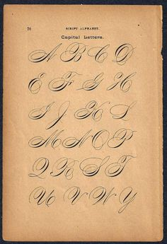 1890s Calligraphy Print Page Capital Letters von forloveofold