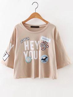 Khaki Drop Shoulder Stamp Patch T-Shirt