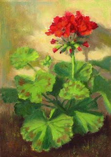 Linda's Witness in Art: The Red Geranium 7x5 oil
