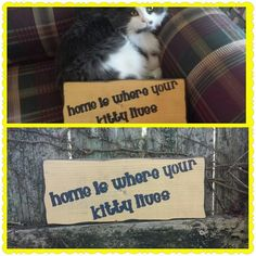 """Grungy Home Is Where Your Kitty Lives Distressed Primitive Wood Sign 4-3/4""""x12""""  #UniquePrimtiques #RusticPrimitive"""