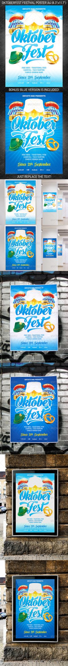 """""""Oktoberfest Festival Poster vol.2"""" for announcement of your action devoted to celebrating of Oktoberfest festival or for any other party in your bar/pub.  You can download and learn more about this PSD template at the following link – http://graphicriver.net/item/oktoberfest-festival-poster-vol2/5425209?ref=4ustudio    More flyers and posters here: http://graphicriver.net/user/4ustudio?ref=4ustudio"""
