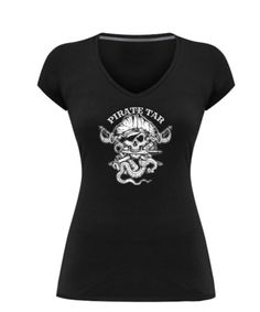 Skallywag Pirate Tar Solid Black  Women's V-Neck Tee. 100% combed and ring spun cotton, side seam, retail fit, shoulder to shoulder taping  https://www.acoffeerepublic.com/products/pirate-tar-v-neck-tee-womens