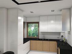 Projekt domu Reksio N+ 103,37 m2 - koszt budowy 180 tys. zł - EXTRADOM House Outside Design, House Design, Modern House Floor Plans, Design Case, Home Fashion, Modern Farmhouse, Kitchen Cabinets, Flooring, Architecture