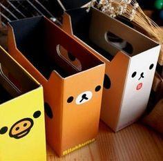 kawaii rilakkuma & pollo giallo fai da te di carta clean up box cancelleria desk organizer storage box