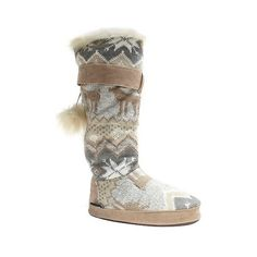 Muk Lu Slipper Boots Lghtcr , Women's, Light Cream ($45) ❤ liked on Polyvore featuring shoes, slippers and light cream