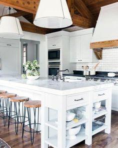 Giant White Pendants Kitchen Island Lighting Ideas Studio Kitchen, Home Decor Kitchen, New Kitchen, Kitchen Dining, Kitchen Ideas, Awesome Kitchen, Kitchen White, Beautiful Kitchen, Kitchen Cabinets