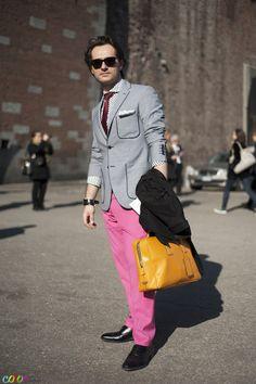 """""""Pink pants, yellow bag, piped blazer, sweet shades."""""""