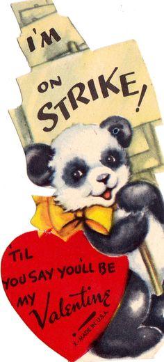 I'm On Strike! Vintage Valentine Card