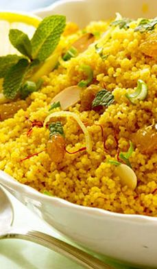 Saffron Couscous with Golden Raisins - Here is Martha's at the Plantation's exotic alternative to white rice.
