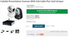 Buy Cobalto Presentation Scanner With Usb Cable Plus Cash drawer at HIGH DISCOUNT 27% OFF at Onlypos in Sydney. We undertake FREE Shipping in Australia..!  http://www.onlypos.com.au/cobalto-preentation-scanner-with-usb-cable-plus-cashdrawer