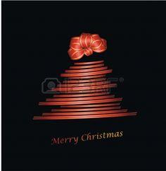 Árbol de Navidad con la cinta y moño de regalo en negro