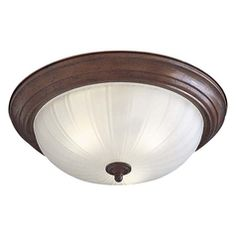 Flushmount Light with White Glass in Antique Bronze Finish