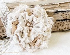 Canvas Lace Tattered Rose Pin