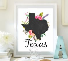 Printable state poster Print map art State by LittleEmmasFlowers