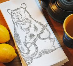 Set of Four Banjo Bear Kitchen Napkins  $24 Click Here: https://www.etsy.com/listing/195191762/banjo-bear-kitchen-napkins-screen?utm_source=Pinterest&utm_medium=PageTools&utm_campaign=Share