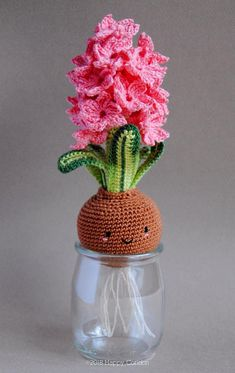Crochet pattern & tutorial to create a cute hyacinth flower amigurumi. US ENGLISH CROCHET TUTORIAL PATTERN in .PDF - NOT A FINISHED ITEM!!!! I really need spring! Im waiting for warm days, sun and flowers. Im so tired of this cold season. Im filling my house with spring bulbs, real and