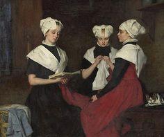 Thérèse Schwartze (Amsterdam artist, 1852-1918) Three Girls from Amsterdam Orpahage 1885