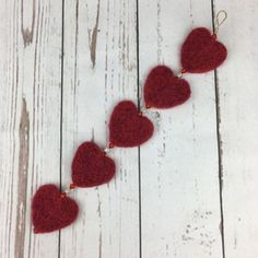 Red needle felted heart garland £7.50