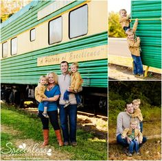 Train-tastic! - Belmont, NC Child & Family Photography - fall family session in front of vintage green and yellow train cars, twin boys, playing on train, hugging dad