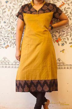 Neelambari - All About Churidar Neck Designs, Kurta Neck Design, Salwar Designs, Kurta Designs Women, Kurta Patterns, Dress Patterns, Churidar Pattern, Sewing Patterns, Kalamkari Dresses