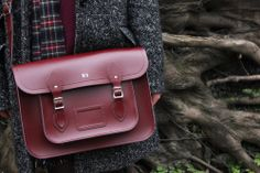 """Our 14"""" Oxblood satchel complete with embossing!"""