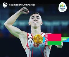 #BLR take their first #Gold medal of #Rio2016 as #UladzislauHancharou dominates in #TrampolineGymnastics Men's #TrampolineGymnastics Results!  #Gold #BLR #Silver #CHN #Bronze #CHN #Olympics #Repost @alimceegs