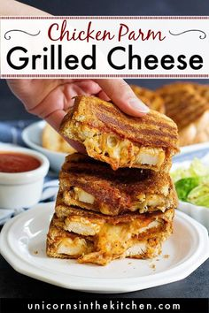 Chicken Parmesan Grilled Cheese Sandwich is the best of both worlds! Delicious chicken smothered in tomato sauce, pressed between two slices of bread with a lot of cheese! Say goodbye to boring grilled cheese and try this chicken parm version! So easy and oh-so-tasty! #grilledcheese #chickenparmgrilledcheese #sandwichrecipes