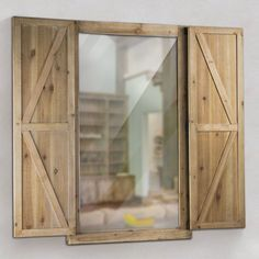 Gallery Shuttered Wall Mirror with Rustic Wooden Frame Farmhouse Decor (Shuttered Wall Mirror with Rustic Wooden Frame), Brown Mocha