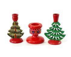 Vintage Christmas Tree Candle Holder Swedish Wood by GizmoandHooHa, $12.00