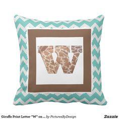 """Giraffe Print Letter """"W"""" on Mint/White Chevron Throw Pillow"""