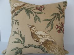 "This Bird of Paradise Duralee Decorative Pillow Cover is a Fantastic Accent Pillow that Showcases the ..""ROBERTA "".. Screen Printed Design Pattern.  This Pattern Features the Iconic Bird of Paradise Sitting on the Branch of a Berry Tree Against a Gold Background, with the Same Fabric on Both Sides.  Colors of the Bird and Tree Include Gold, Taupe, Green, Burgandy, and Cream  The Material for this Stunning Renowned Bird Throw Pillow is a Medium Weight Cotton / Linen Blend."
