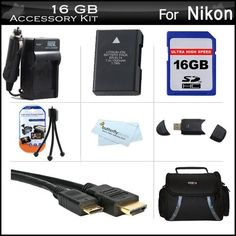 16GB Accessories Kit For Nikon D5200, D5100, D3200, D3100 DSLR Digital SLR Camera Includes 16GB High Speed SD Memory Card + Extended Replacement (1500 maH) For Nikon EN-EL14 Battery + AC/DC Travel Charger + Mini HDMI Cable + USB 2.0 Reader + Case + More by ButterflyPhoto. $59.95. Product DescriptionThis Kit Includes Some Of The Essential Accessories You Need To Take Full Advantage Of Your New Nikon D5200, D5100, D3200, D3100 DSLR CameraKit Includes:1) Digital Film - 16GB (SDHC...