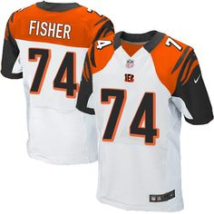 85be410df68 Nike Elite Jake Fisher White Men's Jersey - Cincinnati Bengals #74 NFL Road
