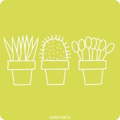 Plantjes raamtekening