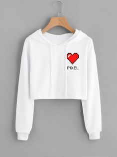 Buzo crop blanco pixel corazon Girls Fashion Clothes, Teen Fashion Outfits, Swag Outfits, Cute Casual Outfits, Outfits For Teens, Cropped Hoodie Outfit, Stylish Hoodies, Belly Shirts, Vetement Fashion