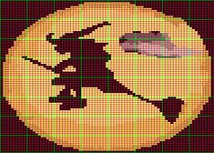 Halloween Witch On A Broomstick Knitting Chart