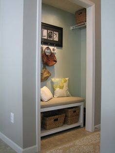Another look at a coat closet turned mud room (or would also make a great reading nook). Such a great idea if you have an extra coat closet to spare. Front Hall Closet, Entry Closet, Closet Mudroom, Closet Space, Closet Nook, Closet Redo, Closet Bench, Basement Closet, Narrow Closet