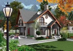 OK.RU Cottage House Designs, Cottage Style Homes, Bungalow House Design, House Front Design, Casas Country, Sims 4 House Building, House Architecture Styles, House Design Pictures, House Construction Plan