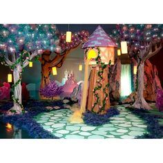 Colorful ways to add spellbinding touches to your fairytale Prom theme. Kit includes a one-dimensional h x w x d balloon tree; three purple trees, each measures h x w x d and two pink trees, each measures - h x