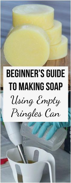 """It can be daunting to make cold process soap for the first time. In this beginner's tutorial I walk you through all the steps. I share a simple recipe and easy method of making round soap using an empty """"Pringles"""" can. Pringles Dose, Pringles Can, Soap Making Recipes, Homemade Soap Recipes, Homemade Paint, Making Bar Soap, Recipe Making, Make Com Glitter, Soap Making Supplies"""