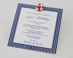 Nautical Life Ring Christening Invitation