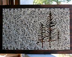 Tree String Art 26x18 Pine Tree String Art by DistantRealms