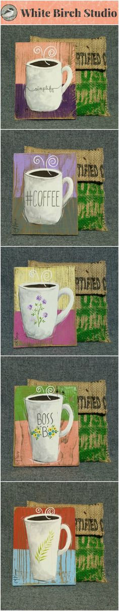 """FREE SHIPPING - United States Only  Original Small Coffee Acrylic painting on reclaimed wood 5 1/2"""" x 7"""" tall  ATTENTION Coffee Lovers! Set a unique mug painting by your Keurig, on your desk by your computer or hang as a group collection vertically or horizontally. Each piece is hand painted and sanded for an aged appearance. Each piece comes in a hand sewn bag made from recycled coffee bean sacks and the enclosure is an old nail."""
