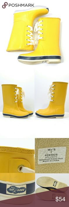 """Yellow Sperry Rain Storm Vintage Style Boots Sperry Rain StormVintage design taken from the Sperry Top-Sider archives. Rubber upper. Waterproof construction keeps feet dry. Sporty lace-up detail. Jersey lining for added comfort. Non-marking rubber outsole w/razor cut Wave-Siping for reliable wet conditions. Removeable insole.  STYLE NAME: Rain Storm SIZE: Women's 7 SHAFT HEIGHT: 12"""" BRAND: Sperry Top-Sider CONDITION: excellent!! They have a few light marks but can't be seen when worn. Sperry…"""