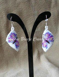 Beaded Butterfly Dangles - Curved Beadwork - Native American Earrings by PrairieBreeze
