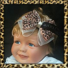 c26d3a802f9 Baby Girls Luxury leopard ribbon organza double bow by oykashams Baby Girls
