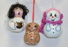 Gourd Tree Ornaments    Snowman Angel and by FromGramsHouse