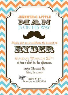 Vintage Little Man Mustache Baby Shower Invitation - Orange and Aqua. $15.00, via Etsy.